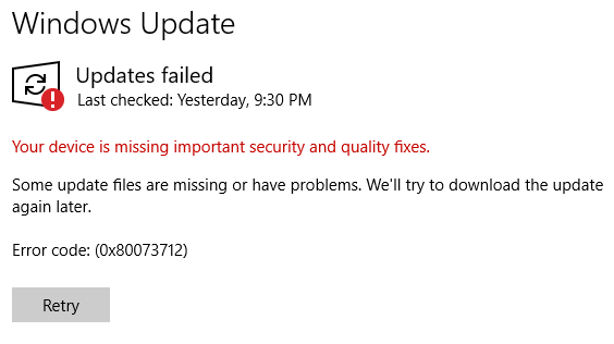 Your Device Is Missing Important Security And Quality Updates Error