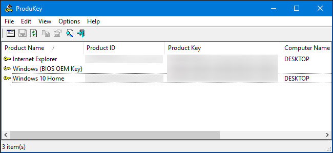 retrieve software product keys