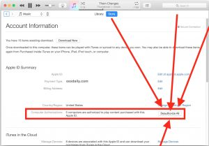 Deauthorize iTunes account